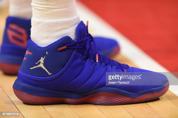 the shoes worn by Blake Griffin of the LA Clippers are seen during the game against the Philadelphia 76ers on November 13 2017 at STAPLES Center in...