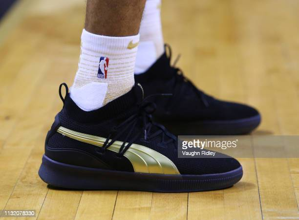 The shoes worn by Danny Green of the Toronto Raptors during the second half of an NBA game against the Oklahoma City Thunder at Scotiabank Arena on...