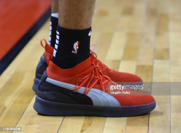 The shoes worn by Danny Green of the Toronto Raptors during the second half of an NBA game against the Orlando Magic at Scotiabank Arena on April 1...
