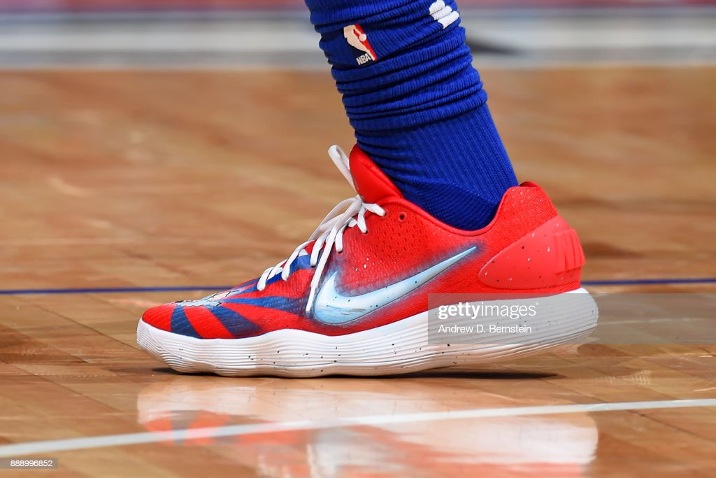the shoes worn by DeAndre Jordan #6 of the LA Clippers are seen during the game against the Washington Wizards on December 9, 2017 at STAPLES Center in Los Angeles, California.