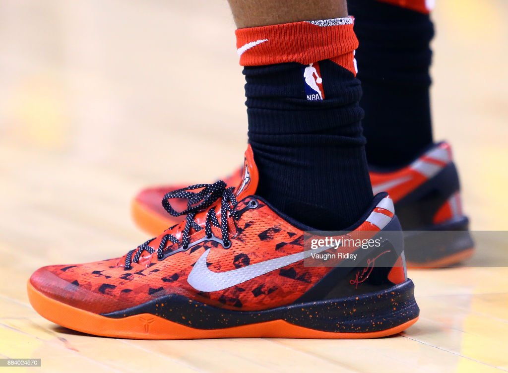 The shoes worn by DeMar DeRozan #10 of the Toronto Raptors during the first half of an NBA game at Air Canada Centre on December 1, 2017 in Toronto, Canada.