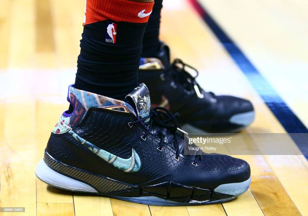 The shoes worn by DeMar DeRozan #10 of the Toronto Raptors during the first half of an NBA game against the Phoenix Suns at Air Canada Centre on December 5, 2017 in Toronto, Canada.