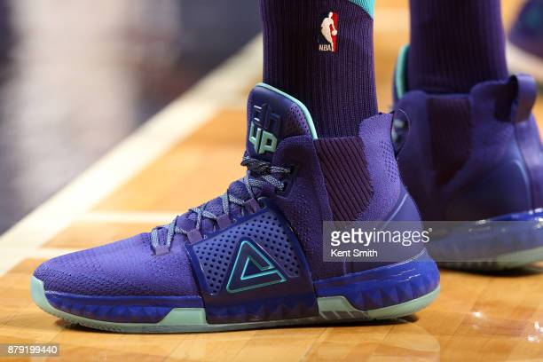 the shoes worn by Dwight Howard of the Charlotte Hornets are seen during the gam eagainst the San Antonio Spurs on November 25 2017 at Spectrum...