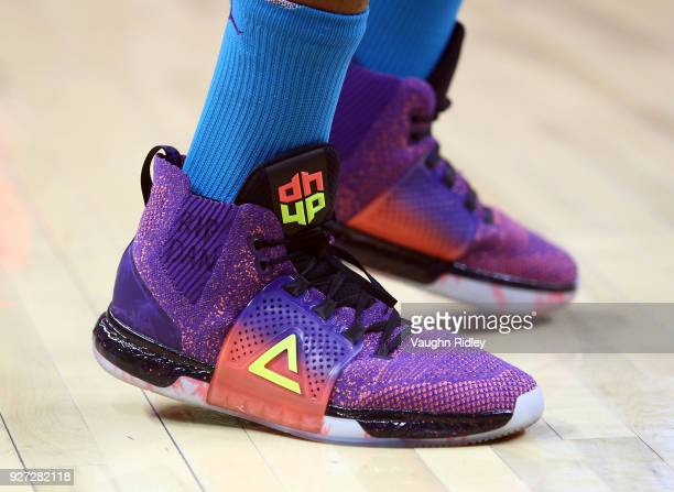 The shoes worn by Dwight Howard of the Charlotte Hornets during the first half of an NBA game against the Toronto Raptors at Air Canada Centre on...