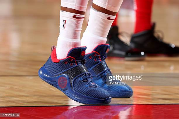 the shoes worn by Dwyane Wade of the Cleveland Cavaliers are seen during the game against the Houston Rockets on November 9 2017 at Toyota Center in...