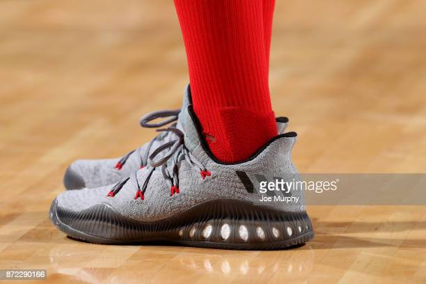 the shoes worn by Eric Gordon of the Houston Rockets are seen during the game against the Cleveland Cavaliers on November 9 2017 at Toyota Center in...