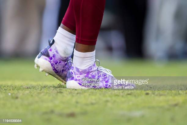 The shoes worn by Fabian Moreau of the Washington Redskins during the second half of the game against the Philadelphia Eagles at FedExField on...