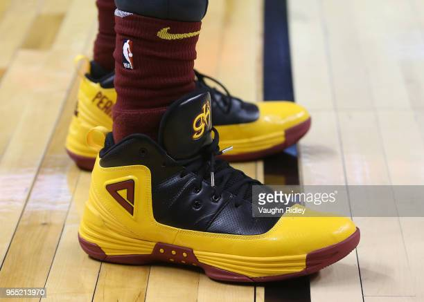 The shoes worn by George Hill of the Cleveland Cavaliers during warm up prior to the first half of Game Two of the Eastern Conference Semifinals...