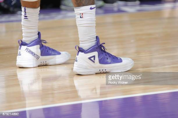the shoes worn by George Hill of the Sacramento Kings are seen during the game against the LA Clippers on November 25 2017 at Golden 1 Center in...