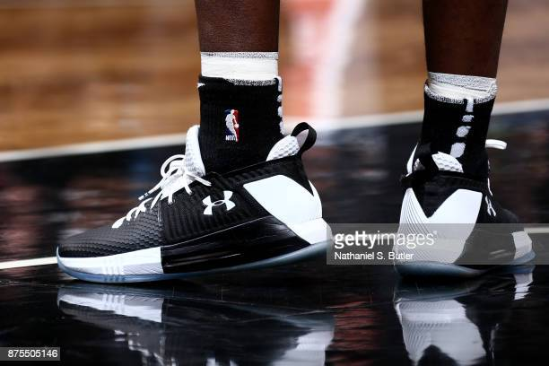 the shoes worn by Isaiah Whitehead of the Brooklyn Nets are seen during the game against the Utah Jazz on November 17 2017 at Barclays Center in...