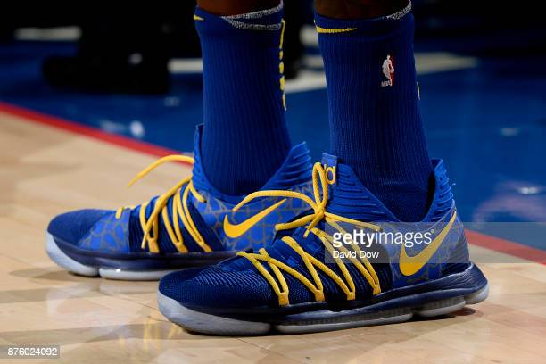 the shoes worn by Kevin Durant of the Golden State Warriors are seen during the game against the Philadelphia 76ers on November 18 2017 at the Wells...