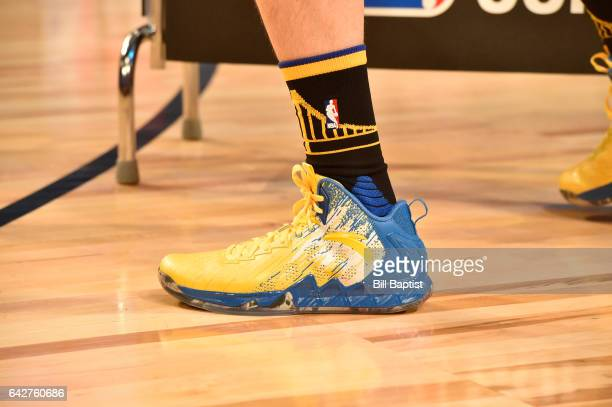 The shoes worn by Klay Thompson of the Golden State Warriors during the JBL ThreePoint Contest on State Farm AllStar Saturday Night as part of the...