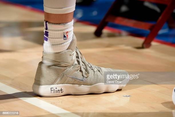 the shoes worn by Kyle Kuzma of the Los Angeles Lakers are seen during the game against the Philadelphia 76ers on December 7 2017 at Wells Fargo...