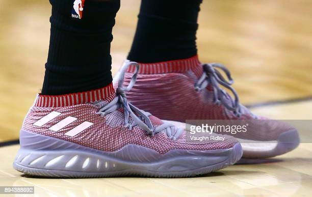 The shoes worn by Kyle Lowry of the Toronto Raptors during the second half of an NBA game against the Sacramento Kings at Air Canada Centre on...