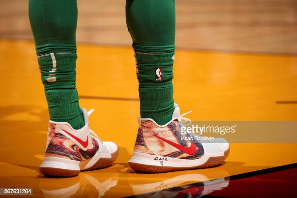 the shoes worn by Kyrie Irving of the Boston Celtics are seen during the game against the Miami Heat at the American Airlines Arena on October 28...