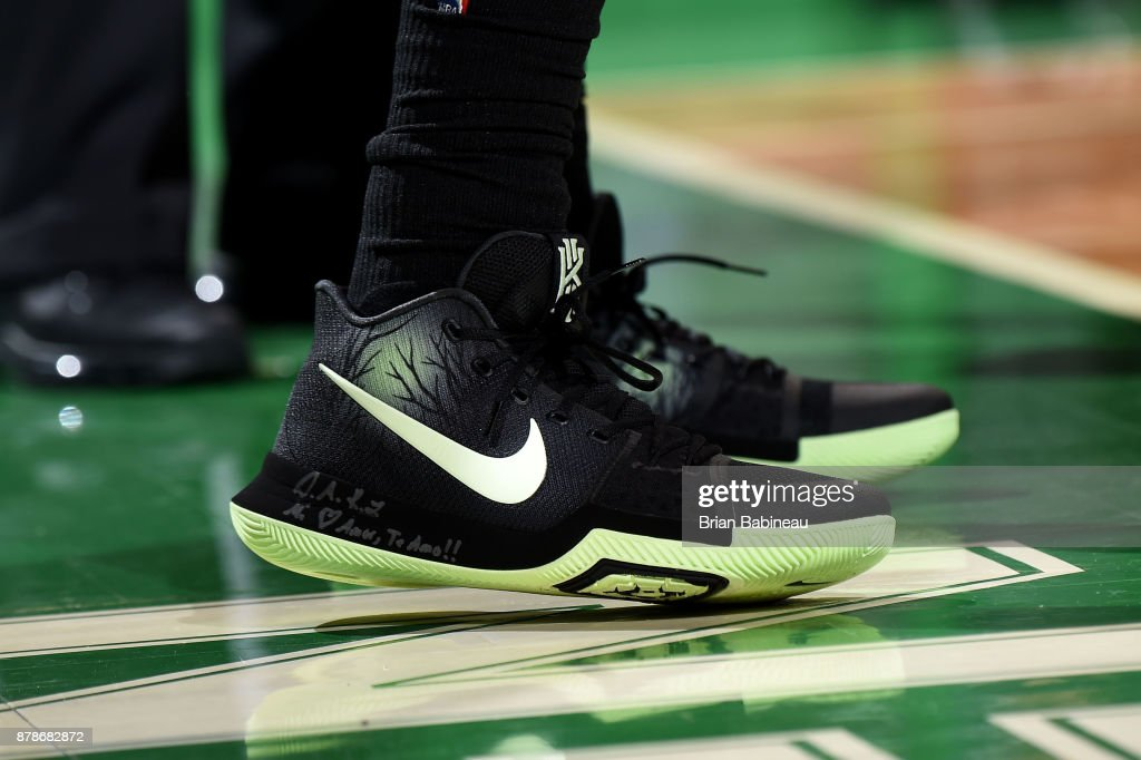 the shoes worn by Kyrie Irving #11 of the Boston Celtics are seen during the game against the Orlando Magic on November 24, 2017 at the TD Garden in Boston, Massachusetts.