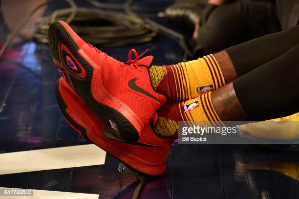 The shoes worn by Kyrie Irving of the Cleveland Cavaliers during the JBL ThreePoint Contest on State Farm AllStar Saturday Night as part of the 2017...