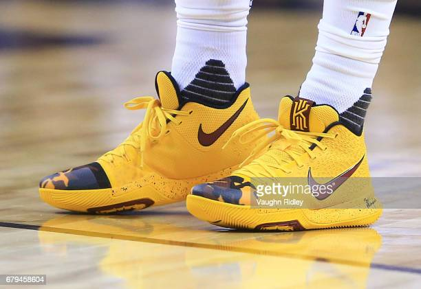 The shoes worn by Kyrie Irving of the Cleveland Cavaliers in the first half of Game Three of the Eastern Conference Semifinals against the Toronto...