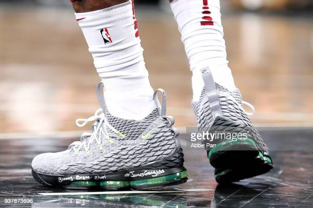 The shoes worn by LeBron James of the Cleveland Cavaliers against the Brooklyn Nets during their game at Barclays Center on March 25 2018 in the...