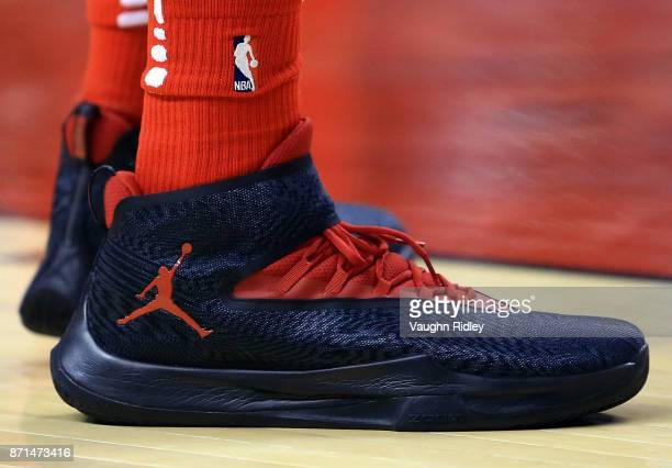 The shoes worn by Lucas Nogueira of the Toronto Raptors during the second half of an NBA game against the Chicago Bulls at Air Canada Centre on...