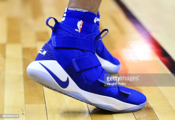 The shoes worn by Markelle Fultz of the Philadelphia 76ers dribbles the ball during the first half of an NBA game against the Toronto Raptors at Air...