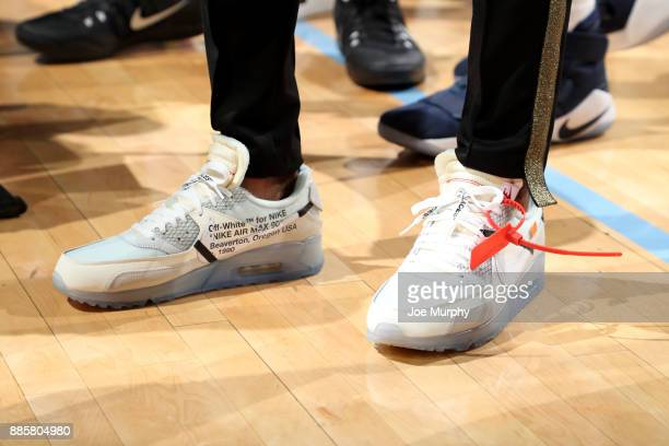 the shoes worn by Mike Conley of the Memphis Grizzlies are seen during the game against the Minnesota Timberwolves on December 4 2017 at FedEx Forum...