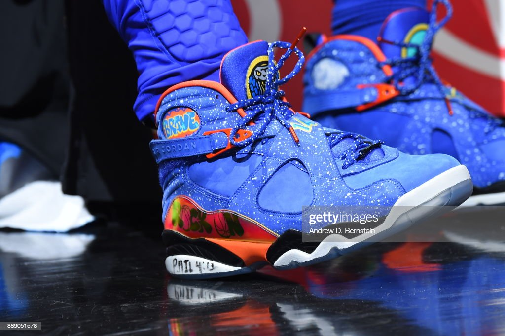 the shoes worn by Montrezl Harrell #5 of the LA Clippers are seen during the game against the Washington Wizards on December 9, 2017 at STAPLES Center in Los Angeles, California.