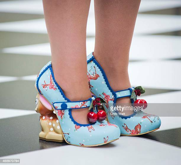 The shoes worn by MSP Angela Constance as she arrives for a debate on the future of Scotland at Holyrood on September 23 2014 in Edinburgh Scotland...