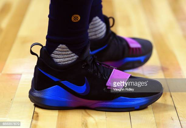 The shoes worn by Paul George of the Indiana Pacers during the first half of an NBA game against the Toronto Raptors at Air Canada Centre on March 19...