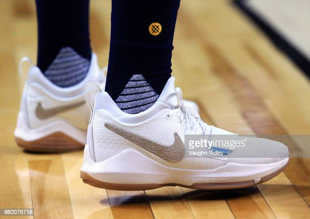 The shoes worn by Paul George of the Indiana Pacers during the first half of an NBA game against the Toronto Raptors at Air Canada Centre on March 31...