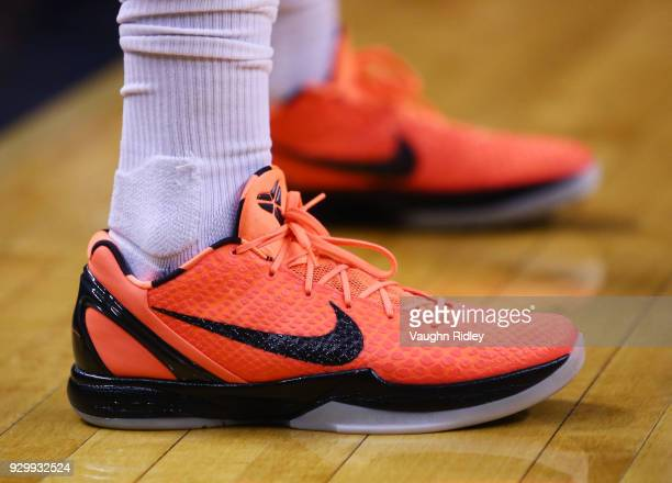 The shoes worn by PJ Tucker of the Houston Rockets during the first half of an NBA game against the Toronto Raptors at Air Canada Centre on March 9...