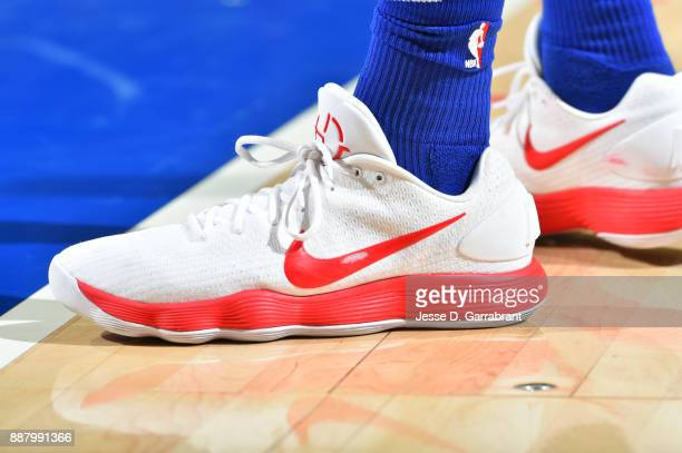 the shoes worn by Robert Covington of the Philadelphia 76ers are seen during the game against the Los Angeles Lakers on December 7 2017 at Wells...