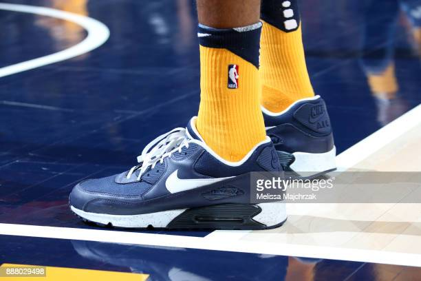 the shoes worn by Rudy Gobert of the Utah Jazz are seen during the game against the Houston Rockets on December 7 2017 at VivintSmartHome Arena in...