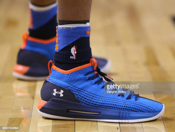 The shoes worn by Terrance Ferguson of the Oklahoma City Thunder during the first half of an NBA game against the Toronto Raptors at Air Canada...