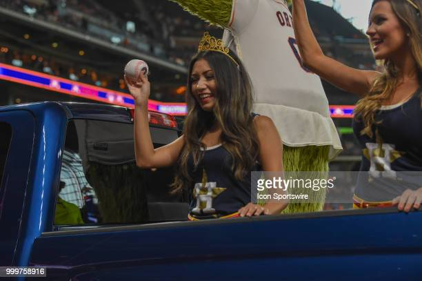 The Shooting Stars rev up the crowd before the baseball game between the Detroit Tigers and the Houston Astros on July 15 2018 at Minute Maid Park in...