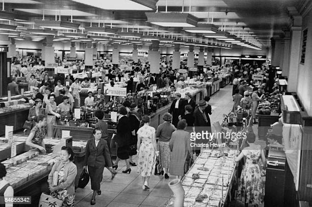 The shop floor of Marks Spencer's Oxford Street branch 10th September 1955 Original Publication Picture Post 7984 Quality Value And Good Service It...