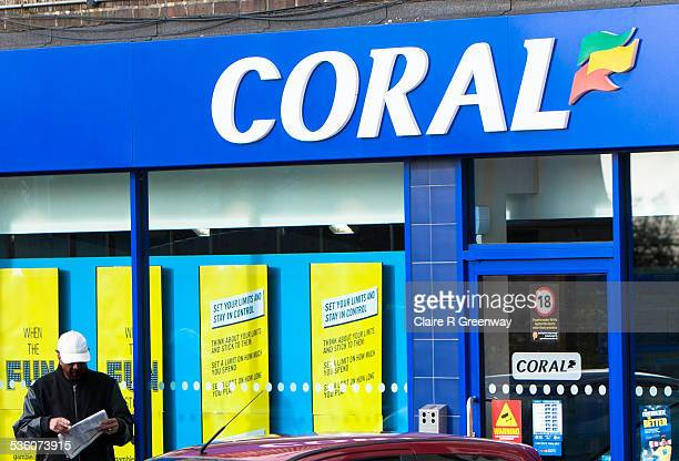 The shop front of British bookmaker chain 'Coral' is pictured in High Wycombe England