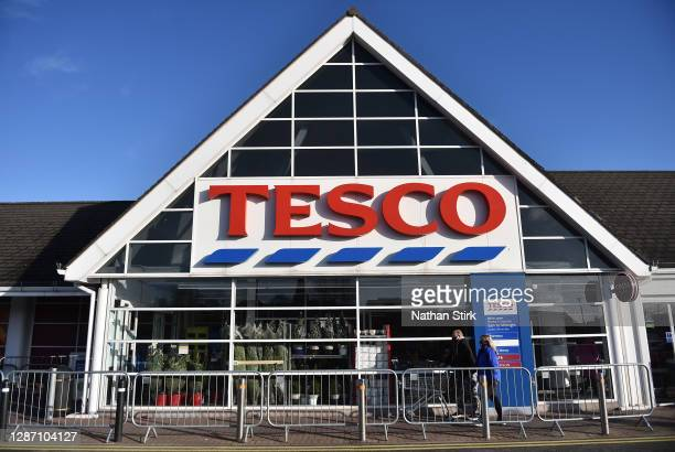 The shop front of supermarket chain Tesco is seen on November 22, 2020 in Uuttoxeter, England .
