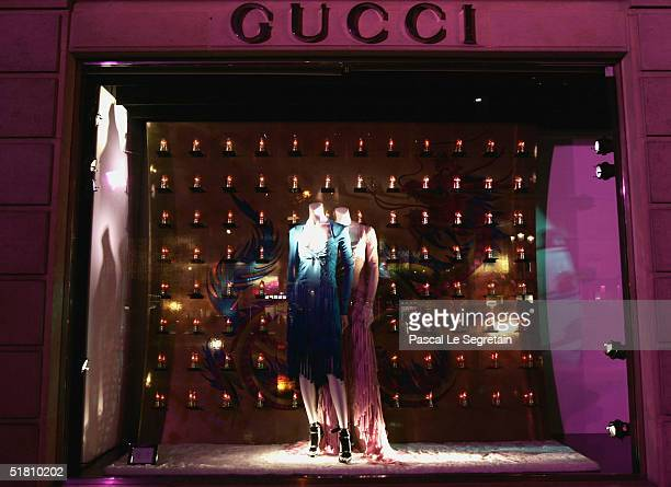 The shop window of the Gucci store on Rue Royale is seen on November 30, 2004 in Paris. .