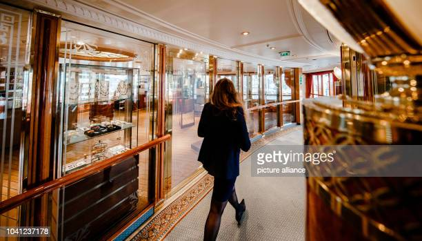 The shopping arcade on the 'MS Deutschland' in Kiel Germany 09 June 2015 The ship made famous by the television series 'Das Traumschiff' takes off...