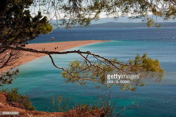 The shore of Zlatni Rat beach Bol Brac Island Dalmatia Croatia