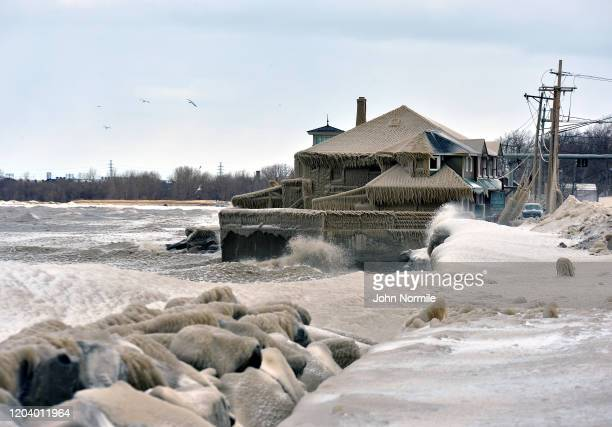 The shoreline of Lake Erie is covered in ice and debris after another winter storm and high winds pounded the suburb of Buffalo on February 28, 2020...