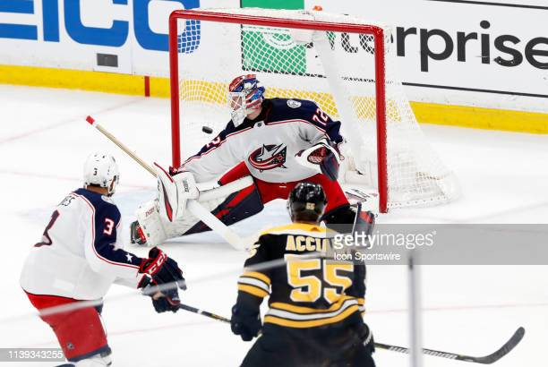 The short handed bid from Boston Bruins right wing Noel Acciari beats Columbus Blue Jackets goalie Sergei Bobrovsky for the first goal of the contest...