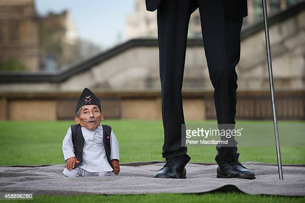 The shortest man ever, Chandra Bahadur Dangi meets the worlds tallest man, Sultan Kosen for the very first time on November 13, 2014 in London,...