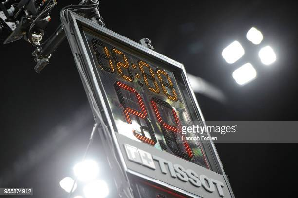The shot clock is seen in Game Four of Round One of the 2018 NBA Playoffs between the Minnesota Timberwolves and the Houston Rockets on April 23 2018...