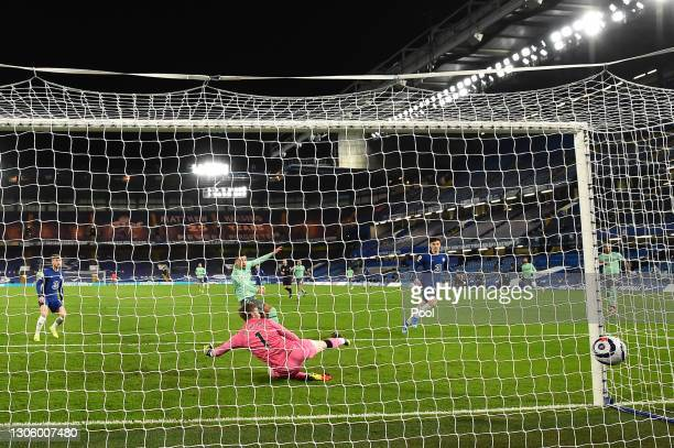 The shot from Kai Havertz of Chelsea is deflected in for a Ben Godfrey of Everton own goal and the first goal for Chelsea during the Premier League...
