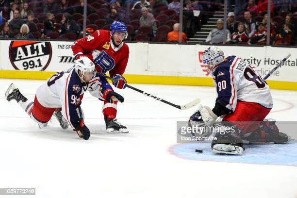 The shot of Laval Rocket center Daniel Audette goes wide of Cleveland Monsters goalie Matiss Kivlenieks as Cleveland Monsters left wing Nathan Gerbe...