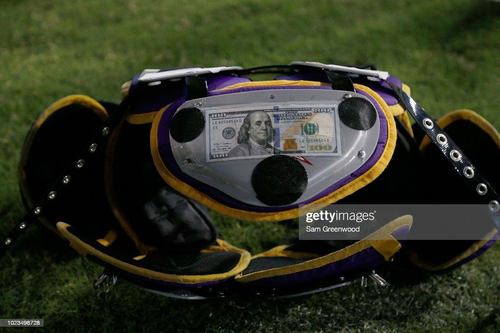 The shoulder pads of Leonard Fournette of the Jacksonville Jaguars