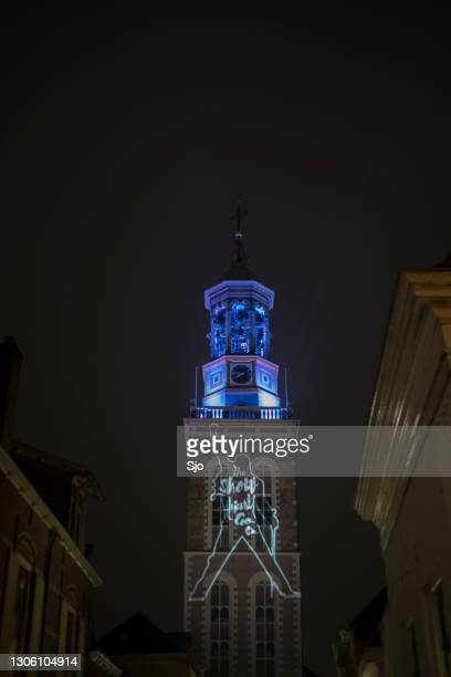"""the show must go on projection on the new tower in kampen to support the cultural and creative sectors - """"sjoerd van der wal"""" or """"sjo"""" stock pictures, royalty-free photos & images"""