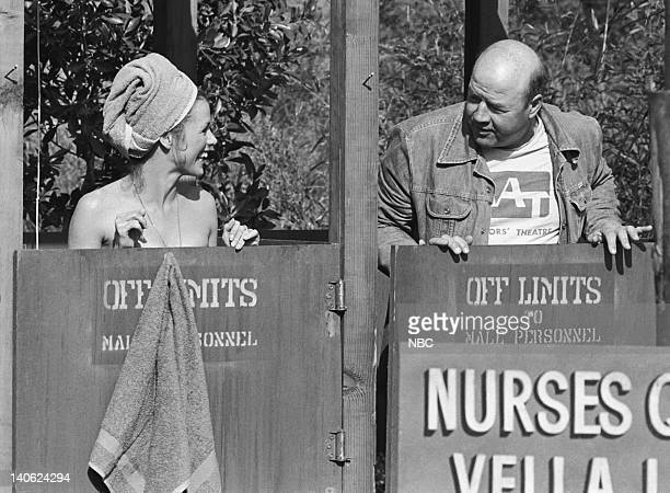 SHEEP The Show Must Go On Sometimes Episode 11 Aired 3/22/78 Pictured Nancy Conrad as Nurse Nancy Gilmore and unknown crew member Photo by NBCU Photo...